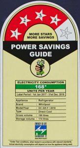 Whirlpool 190 L refrigerator energy saving rating